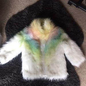 Groovy Vintage Rainbow Fur Coat